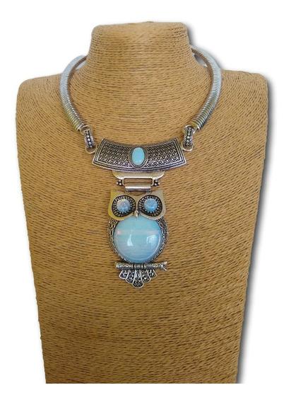 Colar Coruja De Pedra Da Lua Ref: 9811 - Modas - Bijuterias