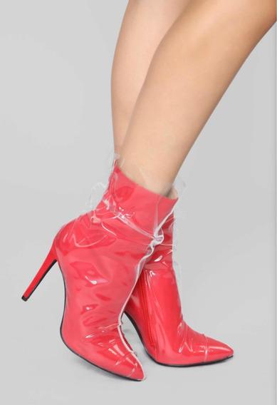 Zapatos Botas Nuevas Rojas Plástico Importadas Fashion Nova