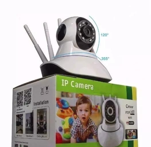 Câmera Segurança Ip Hd 720 Sem Fio Wi-fi P2p Audio 3 Antenas