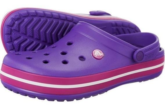 Crocs Crocband Violeta Suela Rosa Original Mujer Niña Nuevas