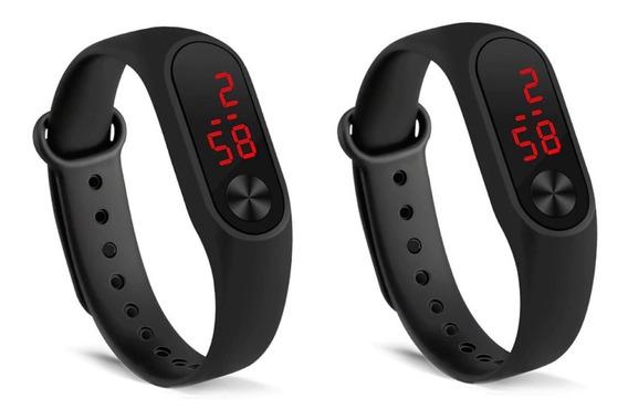 Kit 2 Relógios Digitais Esportivos Bracelete Led Unissex