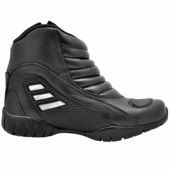 Bota Motorcycle Motorsport Em Couro Atron Shoes Ref 279