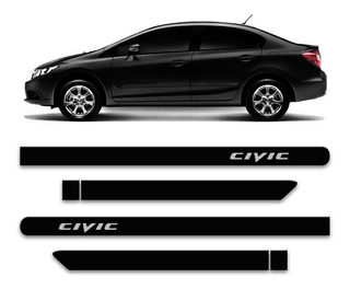 Friso Lateral New Civic 12 13 14 15 2016 Preto Cristal Porta