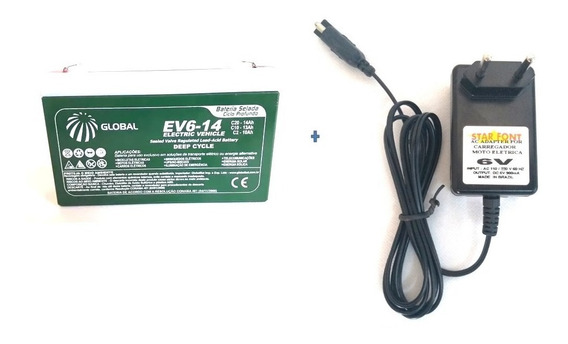 Carregador + Bateria 6v 14ah Moto Elétrica, Camaro Elétrico