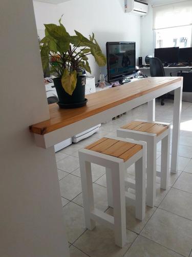 Desayunador Barra Mueble De Cocina Hierro Y Madera Mercado Libre