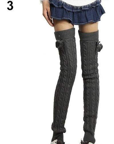 Calentadores Tejidos Crochet Cute Mujer Largos Pompon Egrati