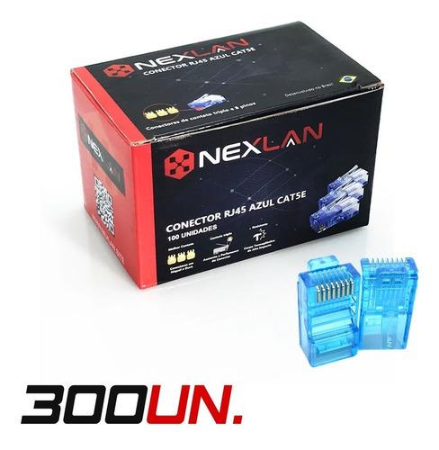 Conector Rj45 Azul Cat5e Premium Ouro, Nexlan - 300 Unidades