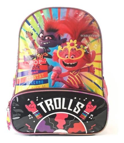 Imagen 1 de 6 de Mochila Espalda Trolls 16 Pulgadas Primaria Poppy