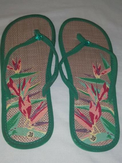 Sandalias Calzado Playeras Color Verde Verano Talla 39