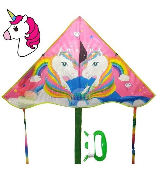 Barrilete Cometa Unicornio Colores Tela Modelo Simple + Hilo