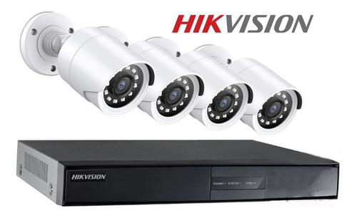Imagen 1 de 9 de Kit 4 Camaras Seguridad Hikvision Dvr Full Hd Cctv