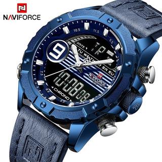 Relógio Naviforce Masculino 9146 Analógico Couro Digital