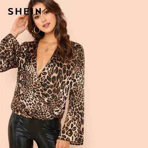 Blusa Outono Casual Leopard V Profundo Shein Luva Surplice