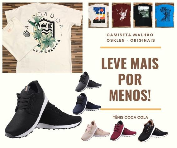 Kit 01 Camiseta Osklen + 01 Tênis Coca Cola - Ilaria Fashion