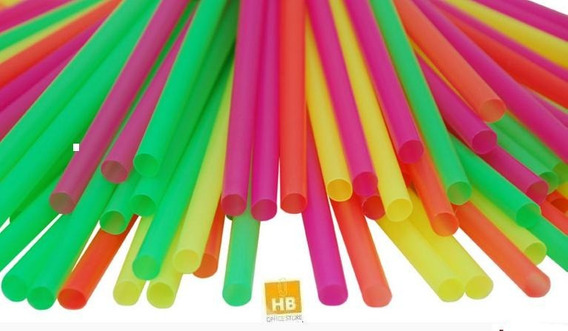 Pajita Sorbete Plastico Colores X100 Unidades Oferton!!