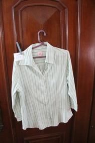 = Roupa Lote 628 Mulher Camisa Social Usa Verde Listrada Gg