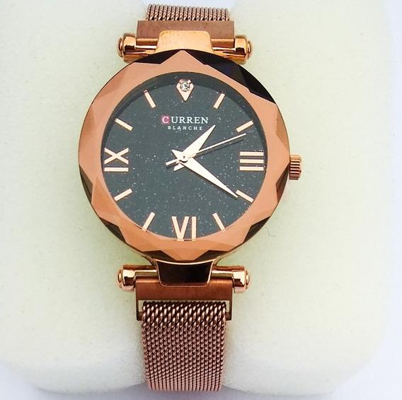 Relógio Feminino Malha Aço Importado Original Bronze Luxo