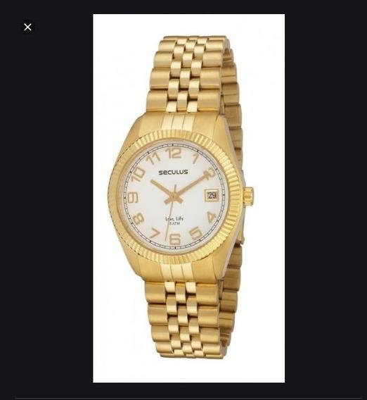 Relógio Seculus Feminino Long Life Dourado Zero Sem Uso