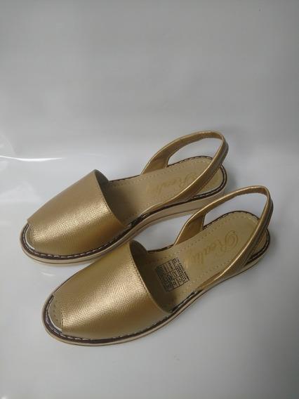 Sandalia Dorado En Puro Cuero Original Zapatos Envío Gratis