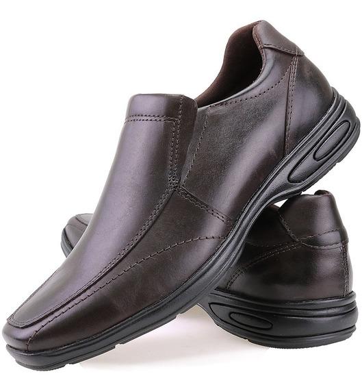 Sapato Social Casual Masculino Antistress Couro Legitimo Dhl