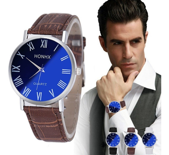 Relógio Masculino Couro Pulso Quartzo Honhx Barato