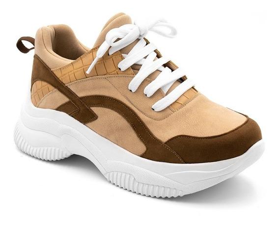 Tênis Calçado Feminino Sneakers Chuncky Casual Genuine Sola Alta Varias Cores