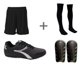 Chuteira De Couro Caneleira Meião Calção Adulto Kit Futebol