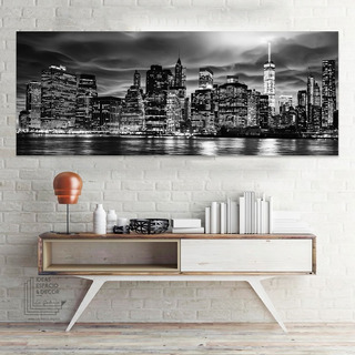 Cuadro Ciudad Nueva York Decorativo Moderno En Canvas Panorámica Impresión Latex Hd Material No Sintético Marco Opcional