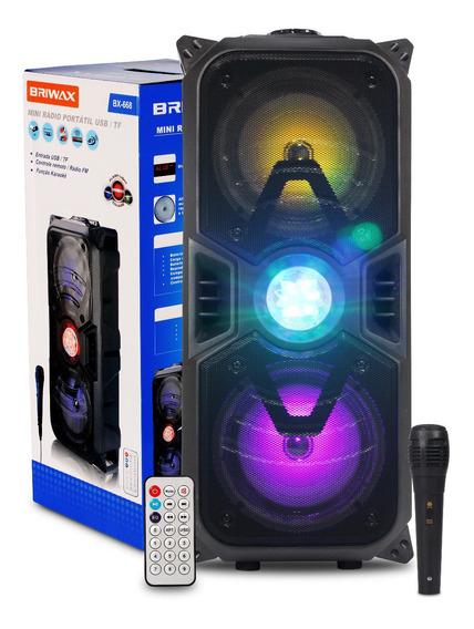 Caixa Som Bluetooth Torre Bx-668 Portatil Usb Karaokê Led Colorida Com Microfone E Controle