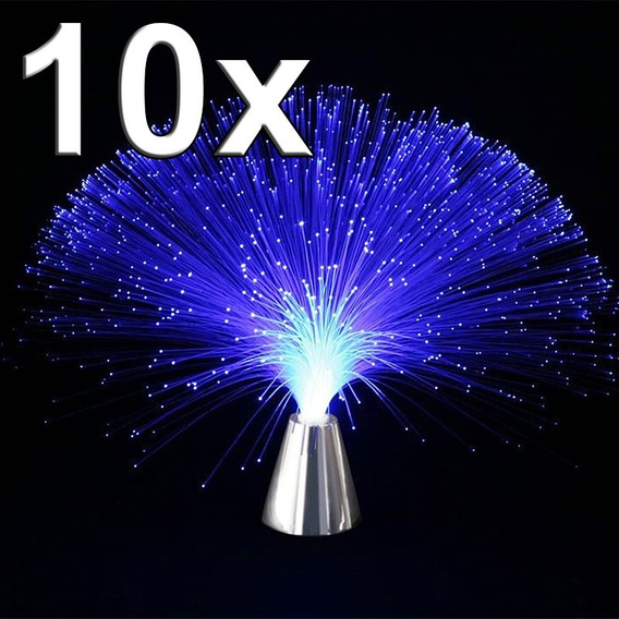 Abajur 10 Unidade Luminaria Led Prata De Fibra Otica Enfeite