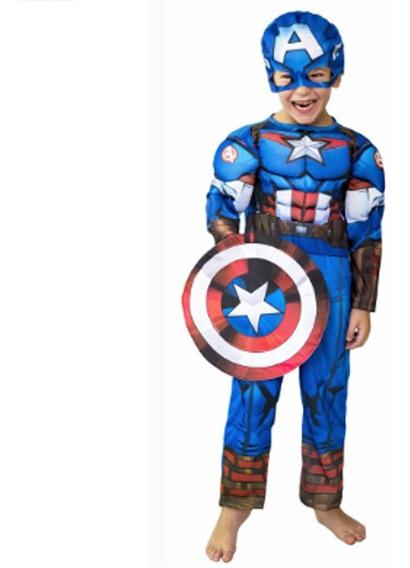 Disfraz De Capitan America Musculoso Talle 0 Original Marvel