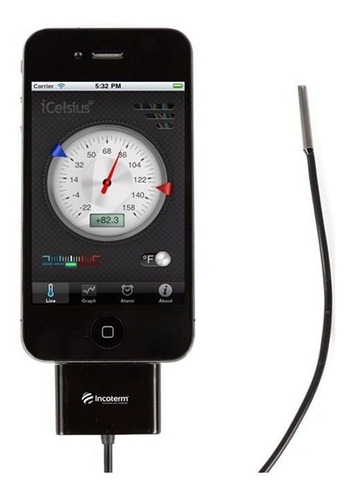 Imagem 1 de 4 de Termômetro Para iPhone Icelsius Temperatura- 30+70c Incot