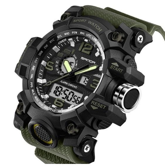 Relógio Esportivo Militar Sanda 742 S Shock Verde * Brinde *