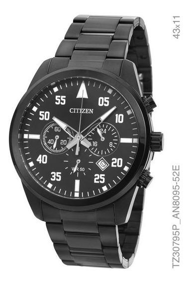 Relógio Citizen Masculino Cronografo Tz30795p Preto Aço