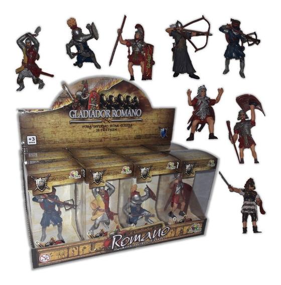 Kit Coleção Action Figure 8 Soldados Romanos Gladiador + Box