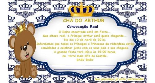 40 Convite + Envelopes E Adesivos Chá De Fraldas Ou De Bebê