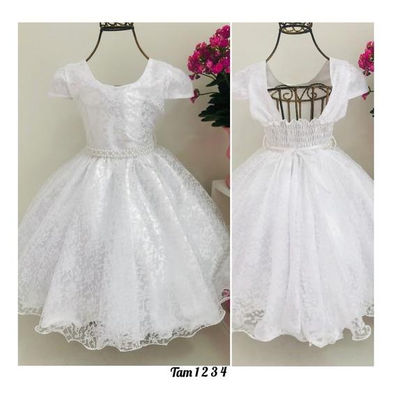 Vestido Branco Festa Infantil Batizado Festa Daminha