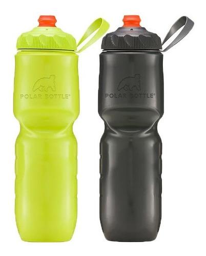Kit 2 Caramanholas Polar Bottle Charcoal + Kiwi Zipstream