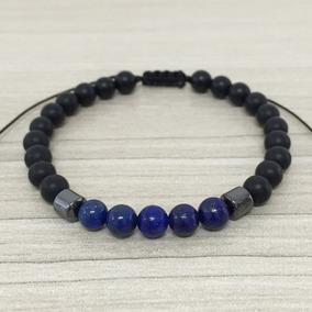 Pulseira Masculina Biojoia Pedra Onix Lapiz Lazuli