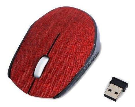 Mouse Wireless Sem Fio Tissu Vermelho Goldship