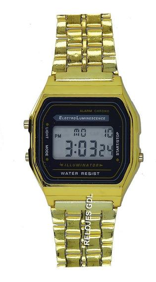 Reloj Digital Dorado Sin Marca