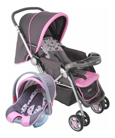 Carrinho Com Bebê Conforto Travel System Reverse Rosa Cosco
