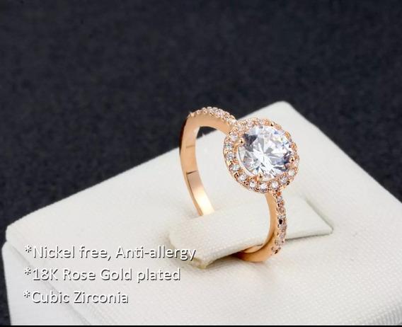 Anel Padrão Luxo Banhado A Ouro 18k Rosê Casamento Noivado!
