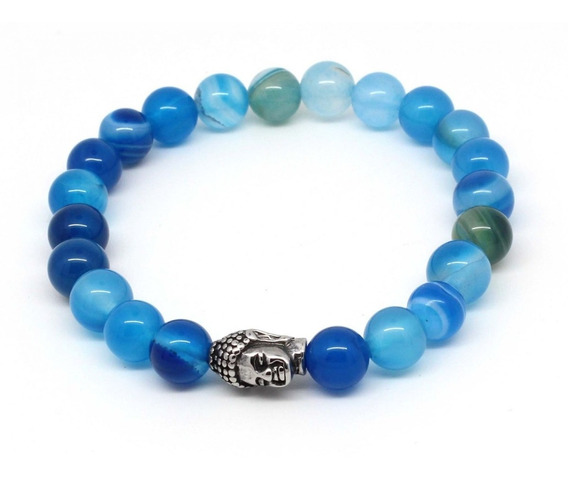 Pulseiras Masculinas Pedras Naturais Ágata Azul Claro Escuro