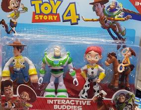 Kit Toy Story 4 - Bonecos Buzz Jazz Wood Bala No Alvo