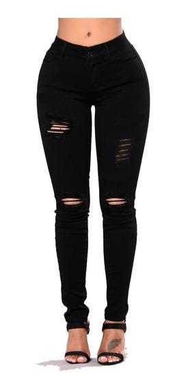 Calça Jeans Feminina Rasgada Premium Cintura Alta Elastano Lycra 36 Ao 46 Hot Pants Levanta Bumbum