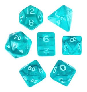Set De 7 Mini Dados Verde Azulado Translúcidos Con Blanco