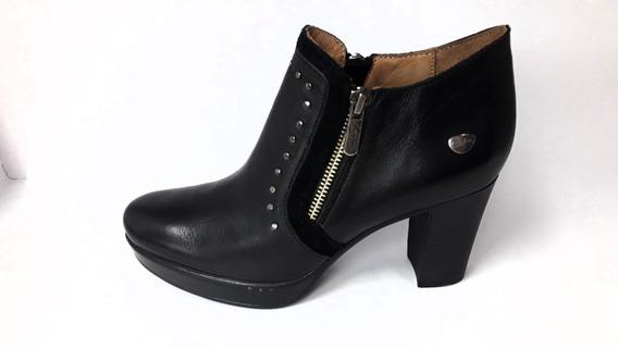 Cavatini Mujer Bota Caña Baja Cuero Taco Alto Negro Vestir