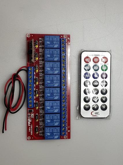 Rele Controle Remoto 8 Canal 12v Wire Com Liga E Desliga
