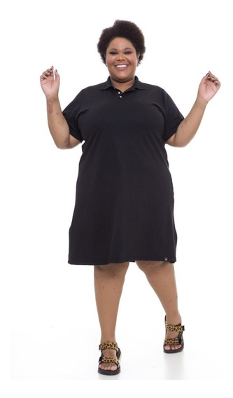 Vestido Gola Polo Plus Size Wonder Size Preto